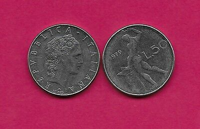 Italy Rep 50 Lire 1979R Xf Vulcan Standing At Anvil Facing Left Divides Date & V