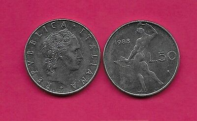 Italy Rep 50 Lire 1988R Xf Vulcan Standing At Anvil Facing Left Divides Date & V