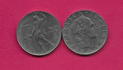 Italy Rep 50 Lire 1964R Xf Vulcan Standing At Anvil Facing Left Divides Date & V
