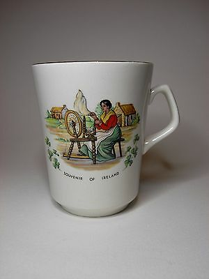 Vintage Beswick Porcelain Mug Depicting An Irish Scene, Framed With Shamrocks