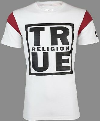 TRUE RELIGION Mens T-Shirt SQUARE FOOTBALL White Red w Black Print $79 Jeans NWT