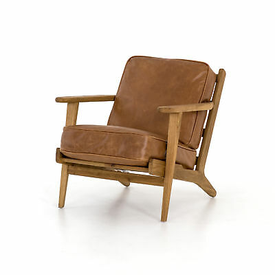"""34.75"""" L Edvige Lounge Chair Palomino Occasional Top Grain Leather Oak Smoked D"""