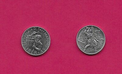 San Marino Rep 2 Lire 1994R Unc Head With Hands Holding Hammer & Chisel,towers A
