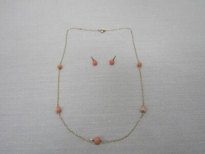 14k Yellow Gold Angel Skin Coral Necklace & Stud Earring Set