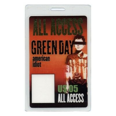 Green Day authentic 2005 concert Laminated Backstage Pass American Idiot Tour AA