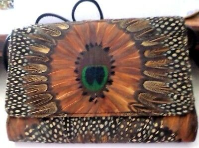 Vintage Comeco Genuine Peacock Feather Cross Body Bag