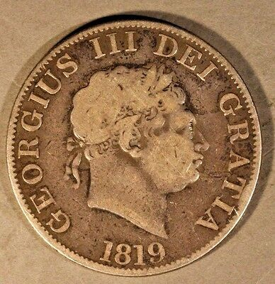 1819 Great Britain 1/2 Crown Silver Circulated         ** FREE U.S. SHIPPING **