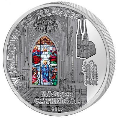 Cook Islands 2015 $10 Windows of Heaven - Zagreb Cathedral 50g Silver Proof Coin