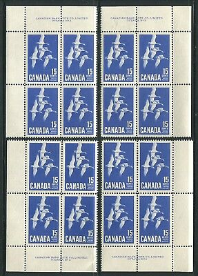 Canada #415 Mint Plate Block Matched Set Vf Nh