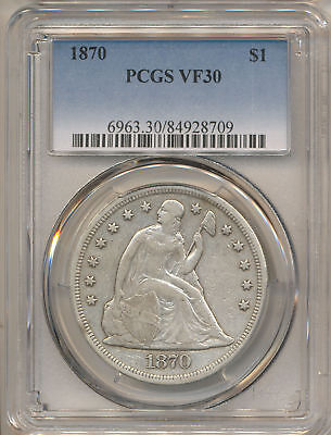 1870 Seated Liberty Dollar Vf30 Pcgs