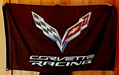 CHEVROLET CORVETTE C7 EMBLEM LOGO BLack 3X5 BANNER FLAG garage shop wall decor