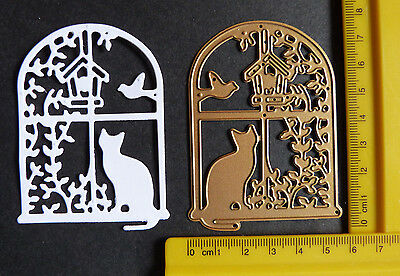 Cat/bird in Vine Window Metal Cutting Die