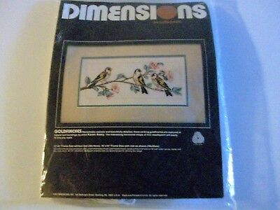 Vintage 1986 Dimensions Goldfinches Crewel Embroidery Kit-Nip