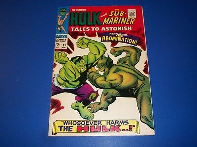 Tales to Astonish #91 Silver Age 1st Abomination cover Hulk Sub-Mariner F/F+ Wow