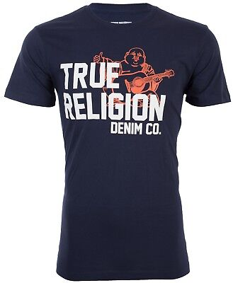 TRUE RELIGION Men T-Shirt BUDDHA APPROVED Navy Blue w White Orange Print $69 NWT