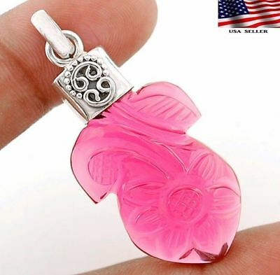 Hand Carved Rubellite Tourmaline 925 Solid  Sterling Silver Pendant  Jewelry