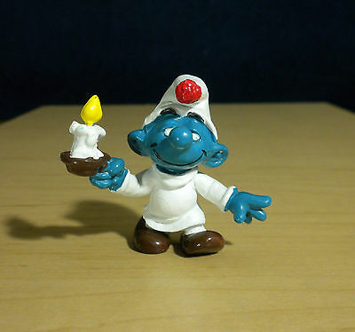 Smurfs Candle Smurf in Sleeping Gown 1979 Vintage Original Figure Toy Peyo 20060