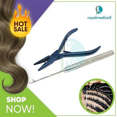 Micro Beads Hair Extension Tools Pliers Blue, Feather Needle Set