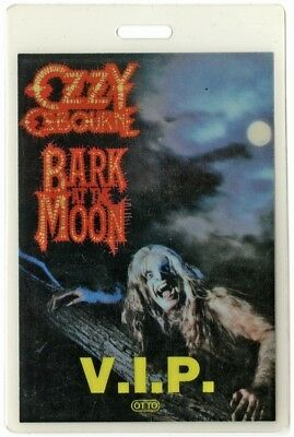 Ozzy Osbourne authentic 1983 Laminated Backstage Pass Bark at the Moon Tour VIP