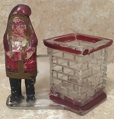 Santa Claus By Square Chimney   Glass Candy Container  Excellent Original Paint