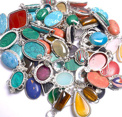 Wholesale Lot 100Pcs Pendant Popular Design Mix Stone 925 Sterling Silver Plated