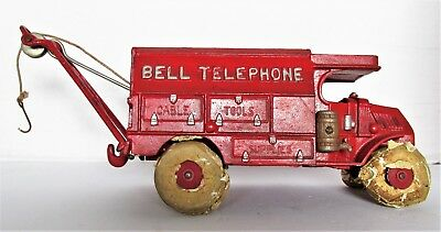 RED Hubley 2011 Cast Iron Toy Bell Telephone Truck