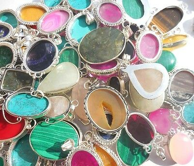 100Pcs Mix Gemstone 925 Sterling Silver Overlay Wholesale Pendant Jewelry