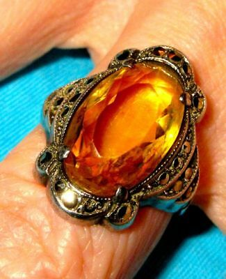 Antique Art Deco Sterling Silver Large Genuine Citrine & Marcasite Ring 1920-30s