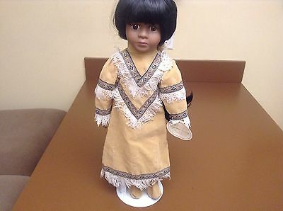"""Knightsbridge Collection Native American Indian 17"""" Hand Painted Porcelain Doll"""