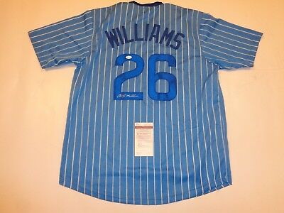 BILLY WILLIAMS autographed signed Cubs blue pinstripe jersey JSA witness