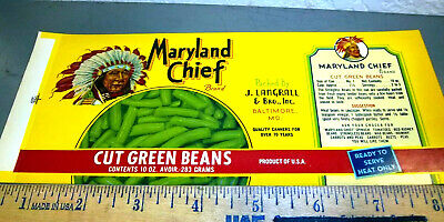 ORIGINAL CAN LABEL VINTAGE 1940S RED BALL PLAQUEMINE LOUISIANA LIMA BEANS BRONZE