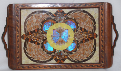Vintage Butterfly Wing Tray From Brazil Beautiful Wood Marquetry Inlay