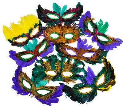 50 Pc Lot Mardis Gras Masquerade Feather Masks Party Favors Wedding Decorations