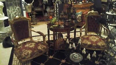 PR STUNNING ORNATE ANTIQUE FRENCH CHAIRS RARE TUFTING w Lg Inset RHINESTONES