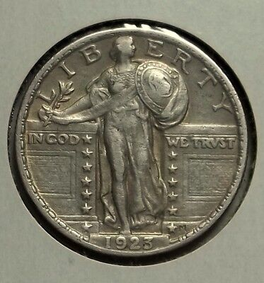 1923-P Standing LIberty Quarter, Great Details, Excavated Coin, Cleaned