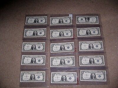 1957 1$ Silver Certificates Lot (15) Uncirculated Mint