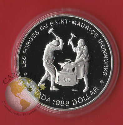1988 PROOF SILVER CANADA ONE DOLLAR COIN - Capsule Only - Iron Work