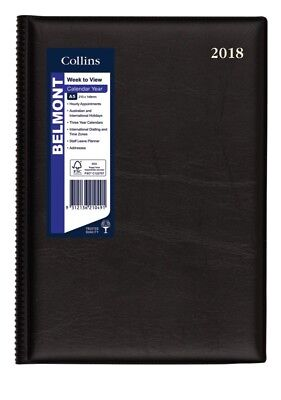 2018 Diary Collins Belmont Wtv A5 Black 387.v99-18 Free Shipping!