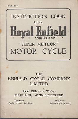 ROYAL ENFIELD 700cc SUPER METEOR ORIGINAL 1956 OWNERS INSTRUCTION HANDBOOK