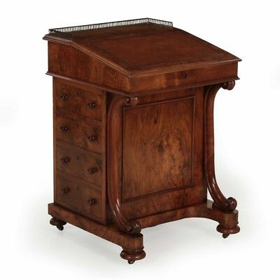 Very Fine William IV Circassian Walnut Antique Davenport Desk, England c. 1850