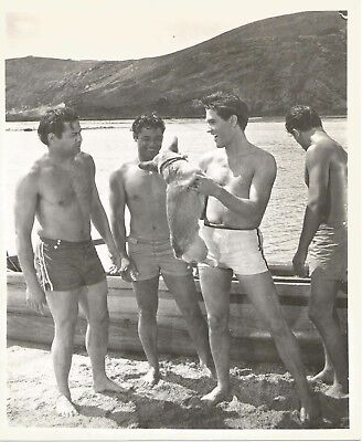 ELVIS PRESLEY 1961 BLUE HAWAII Movie Promo Photo BEACHBOYS w Dog @ HANAUMA BAY!