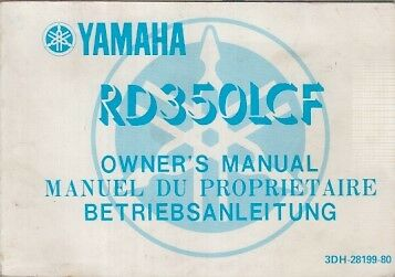 Yamaha Rd350Lc F Orig.1987 Owner Instruction Manual (English French German Text)