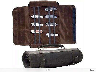"""NEW!!!  -12"""" X 6"""" KNIFE ROLL Black Nylon Carrying Case w/ Handle holds 24 PCS,"""