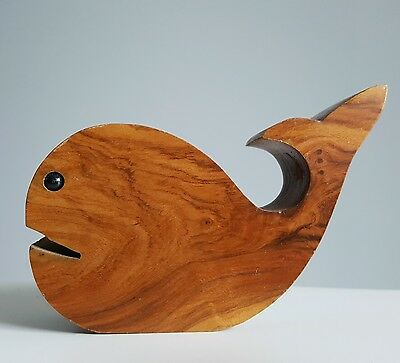 Modernist whale, Danish whale, mid century toy, wood whale, wooden candle