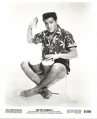 Wow! ELVIS PRESLEY 1961 BLUE HAWAII Movie Promo Photo Music ALOHA Shirt, BONGOS