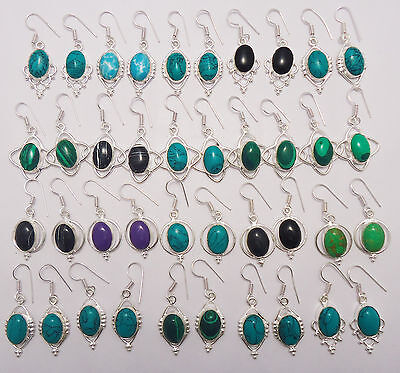 Best Jewelry Gift Mix Gemstone 925 Sterling Silver Overlay 20Pair Dangle Earring