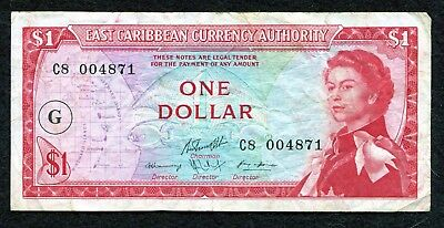 1965 ND East Caribbean Currency Authority $1 One Dollar Foreign World Banknote