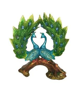 Peacock Pair Couple on Wood Branch Ornament Figurine