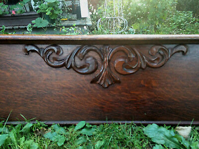 "Excellent Victorian Oak Carved Pediment 58.5"" Robust Carvings Headboard"
