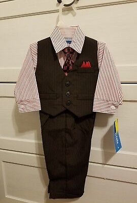NWT Happy Fella Boy's Black and Red 4 Piece Pin Stripe Suit, Size 12 Months